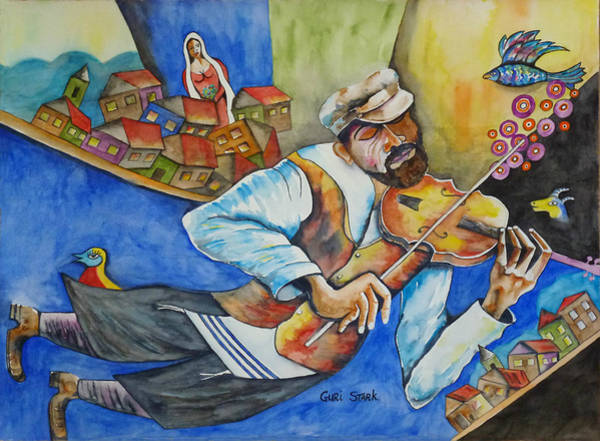 Jewish Music Wall Art - Painting - Fiddler On The Roofs by Guri Stark