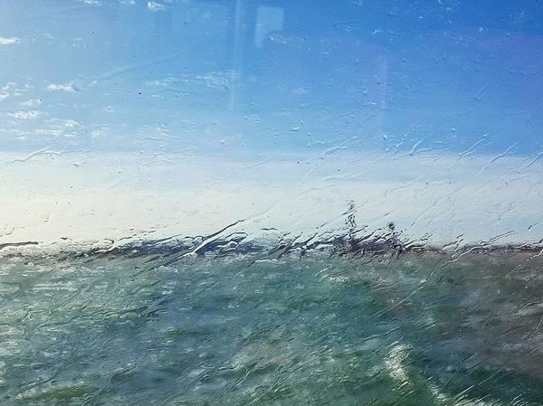 Field And Sky Seen Through Wet Glass Window Art Print by Massimiliano Ranauro / EyeEm