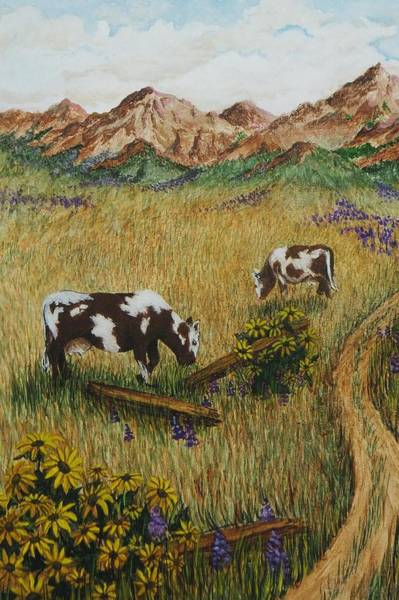Wall Art - Painting - Field Cows by Katherine Young-Beck