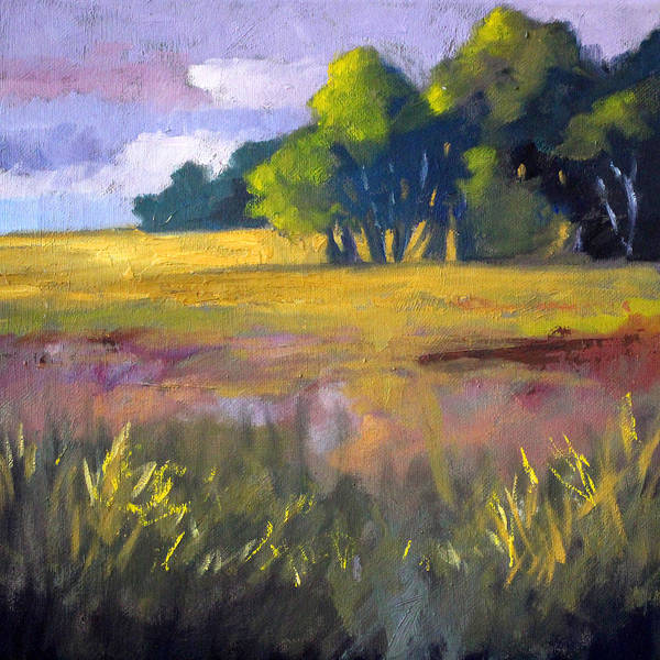 Prairie Grass Painting - Field Grass Landscape Painting by Nancy Merkle