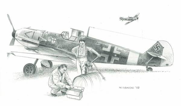 Luftwaffe Wall Art - Painting - Field Maintenance by Norb Lisinski