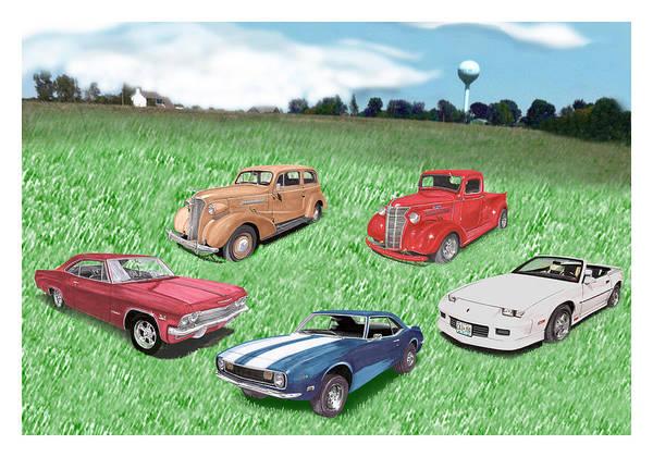 Super Car Mixed Media - Field Of Chevys by Jack Pumphrey
