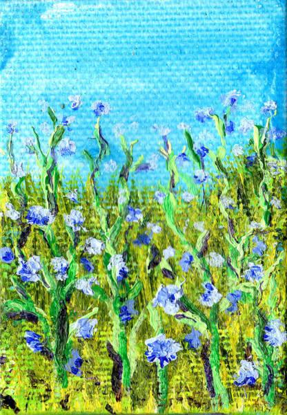 Painting - Field Of Cornflowers 3 By 2 Inch Miniature Painting by Regina Valluzzi
