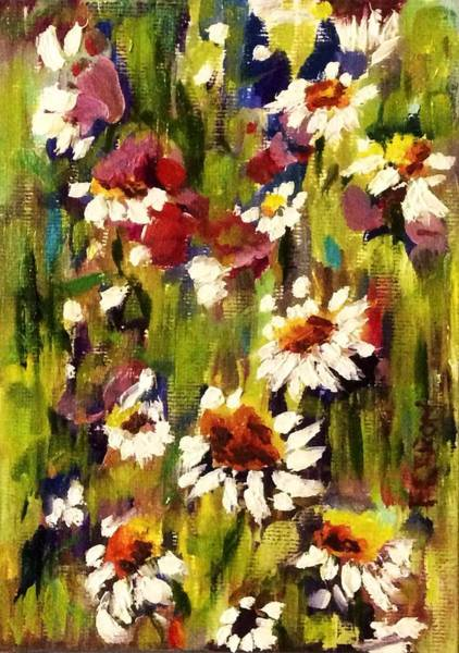 Art Print featuring the painting Field Of Daisies by Patti Ferron