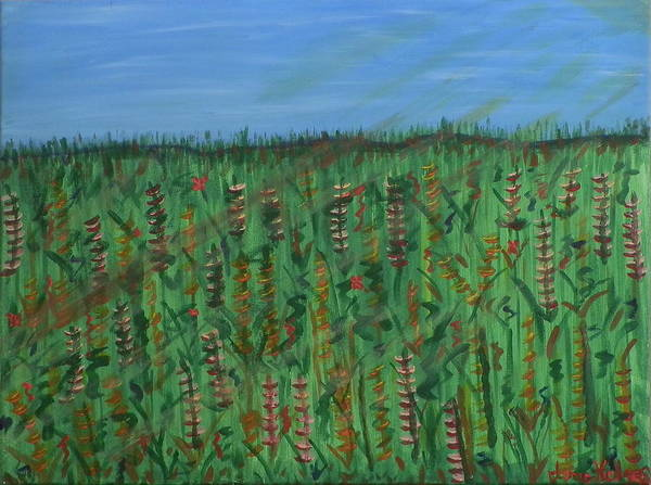 Ione Painting - Field Of Flowers by Ione Hedges