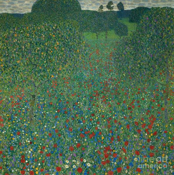 Current Wall Art - Painting - Field Of Poppies by Gustav Klimt