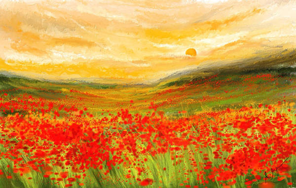 Painting - Field Of Poppies- Field Of Poppies Impressionist Painting by Lourry Legarde