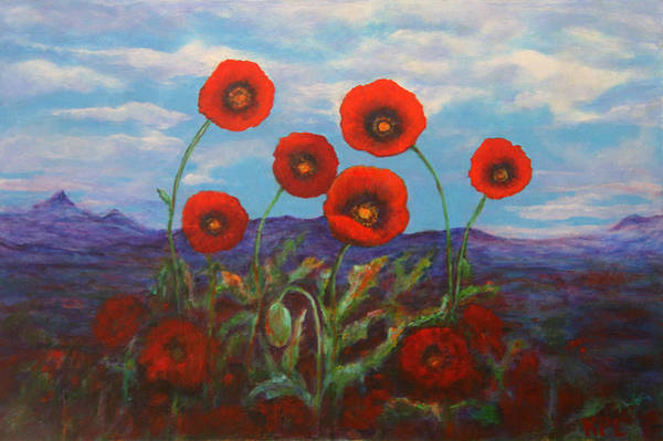 Painting -  Dreaming Of Poppies by Kathy Peltomaa Lewis