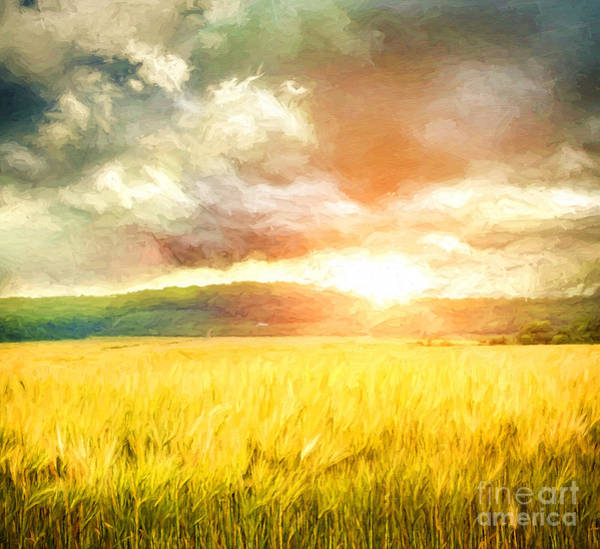 Photograph - Field Of Wheat With Ominous Clouds/ Digital Painting  by Sandra Cunningham