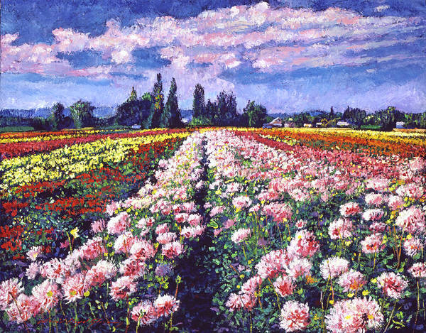 Painting - Fields Of Dahlias by David Lloyd Glover