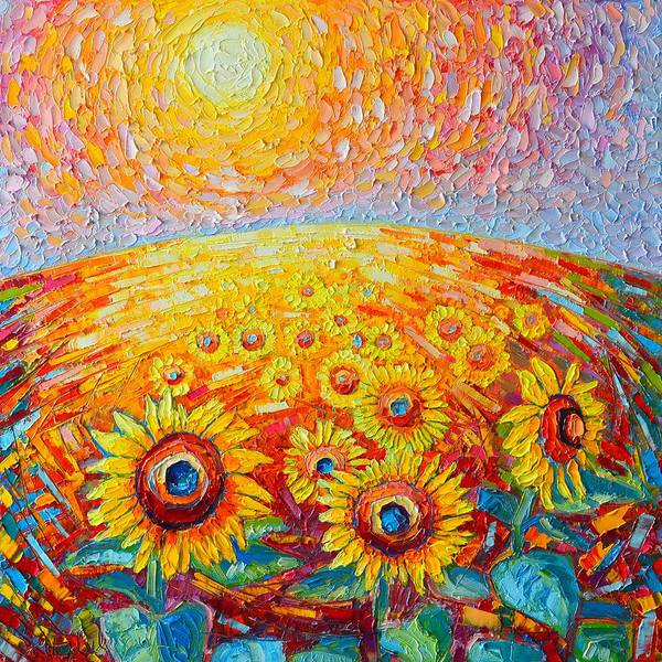 Field Of Flowers Wall Art - Painting - Fields Of Gold - Abstract Landscape With Sunflowers In Sunrise by Ana Maria Edulescu