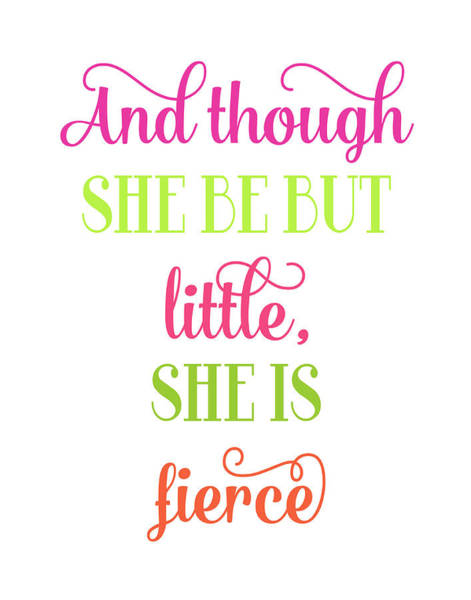 Neon Pink Painting - Fierce Quote by Tamara Robinson