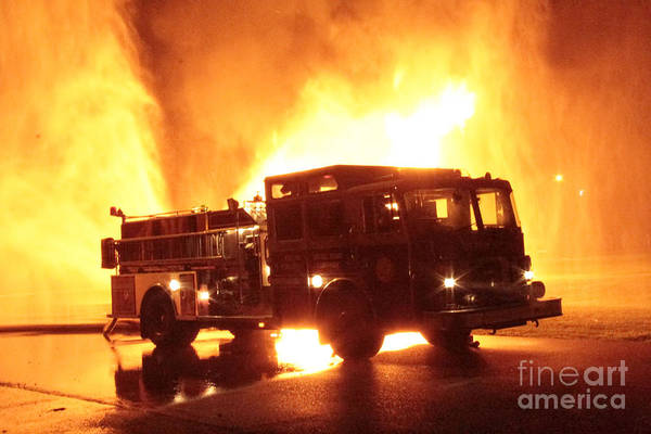Photograph - Fiery Fire Truck by Jim Lepard