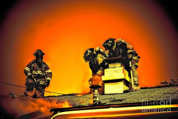 Photograph - Fiery Firefighters by Jim Lepard