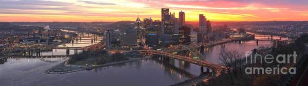 Photograph - Fiery Morning Skies Over Pittsburgh by Adam Jewell