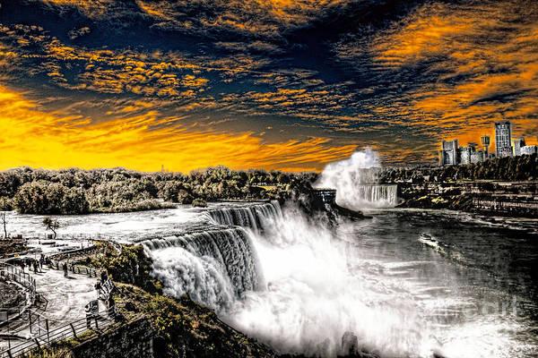 Photograph - Fiery Niagara Falls by Jim Lepard