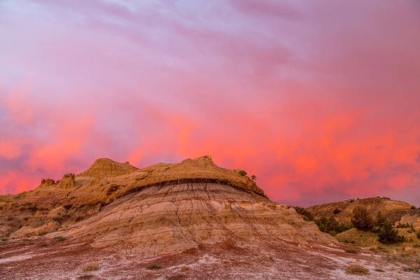 North Dakota Photograph - Fiery Sunrise Clouds Over Badlands by Chuck Haney