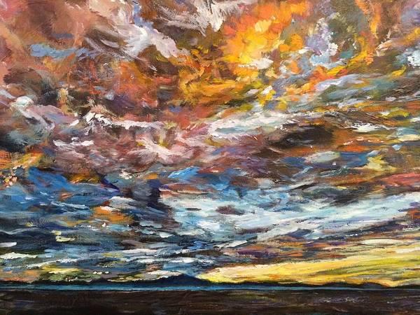 Pikes Peak Painting - Fiery Sunset by Belinda Low