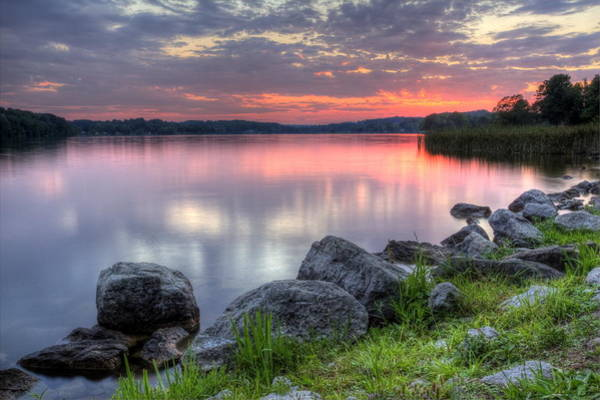 Photograph - Fiery Sunset On The Lake by David Dufresne