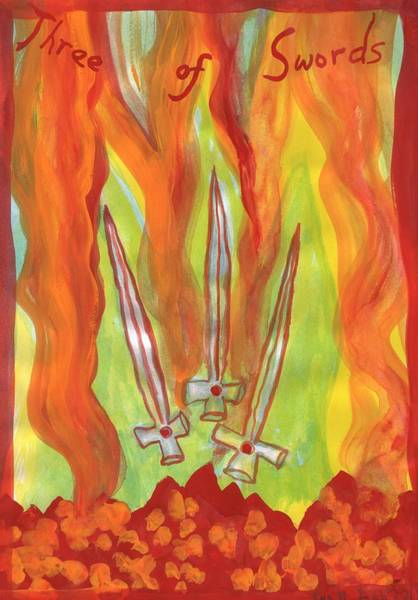 Flaming Sword Painting - Fiery Three Of Swords by Sushila Burgess