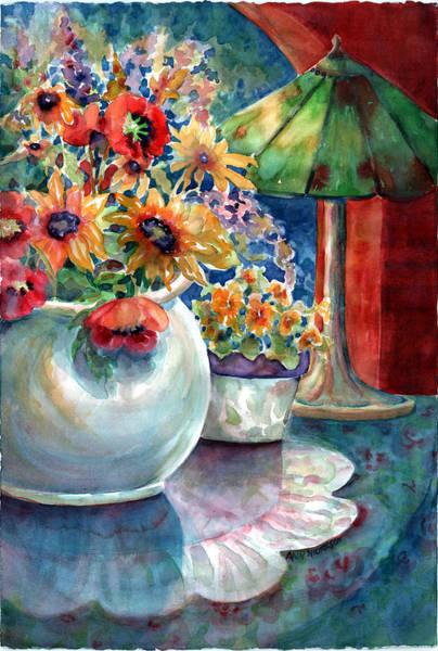 Doily Painting - Fiesta Blooms by Ann  Nicholson