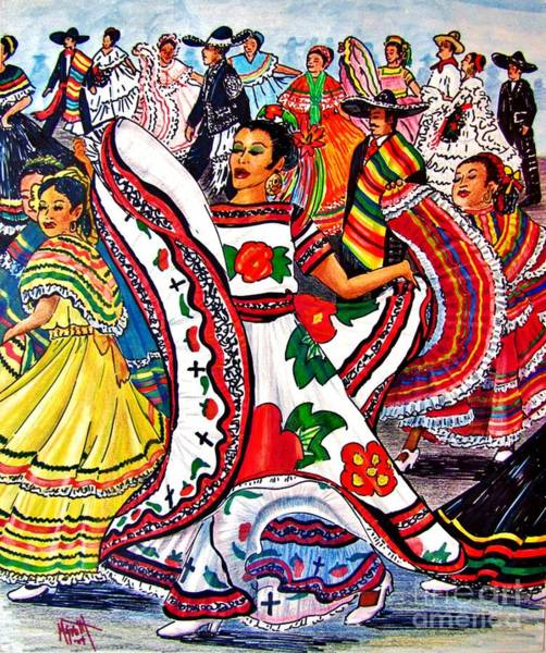 Traditional Dances Drawing - Fiesta Parade by Marilyn Smith