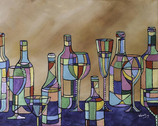 Pink Champagne Painting - Fiesta by Wendy Provins