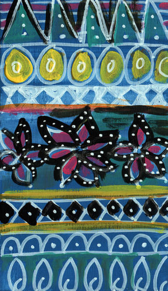 Flower Pattern Painting - Fiesta In Blues- Abstract Pattern Painting by Linda Woods