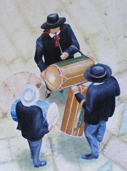 Fife Painting - Fife And Drum Players At Ste. Marie De La Mer Church In Camargue by Barbara Jacquin