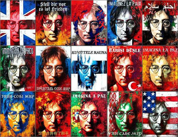 Conceptualism Painting - Fifteen Paintings On Canvas From The Series- John Lennon-the Man Of Peace And The World by Vitaliy Shcherbak