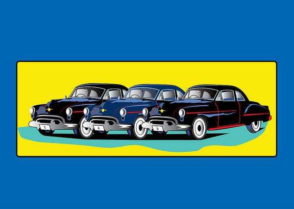 Wall Art - Digital Art - Fifties Cars by Andy Donald