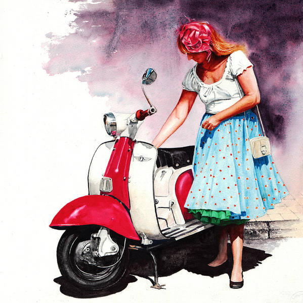Fifties Lambretta Girl Art Print