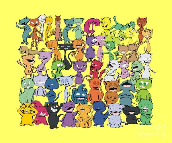 Drawing - Fifty Happy Cats On Yellow by Pet Serrano