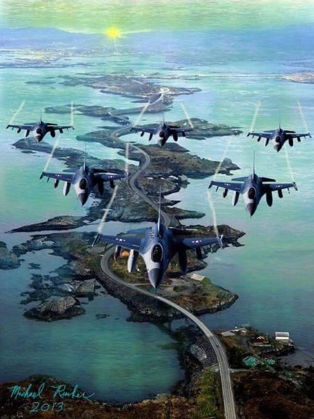 Digital Art - Fighter Jet Squadron  by Michael Rucker