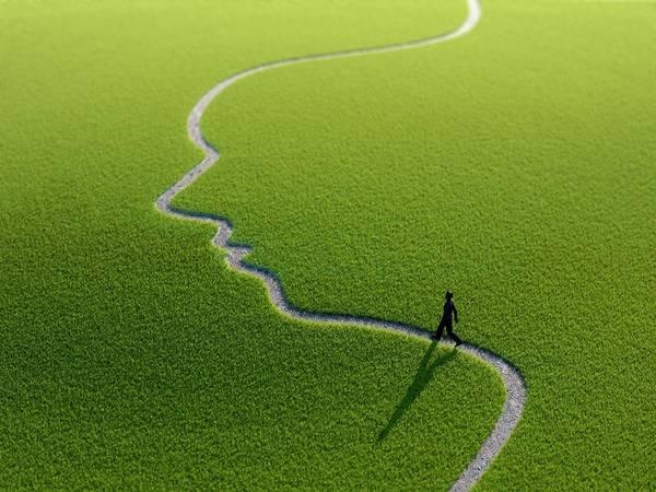 Wall Art - Photograph - Figure On Face Shape Path by Andrzej Wojcicki