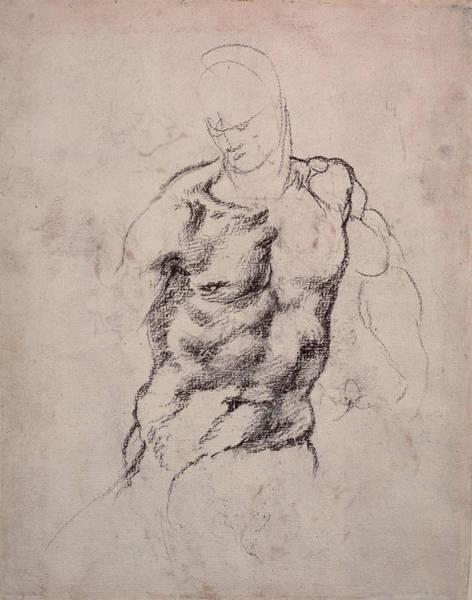 Buonarroti Wall Art - Drawing - Figure Study by Michelangelo Buonarroti
