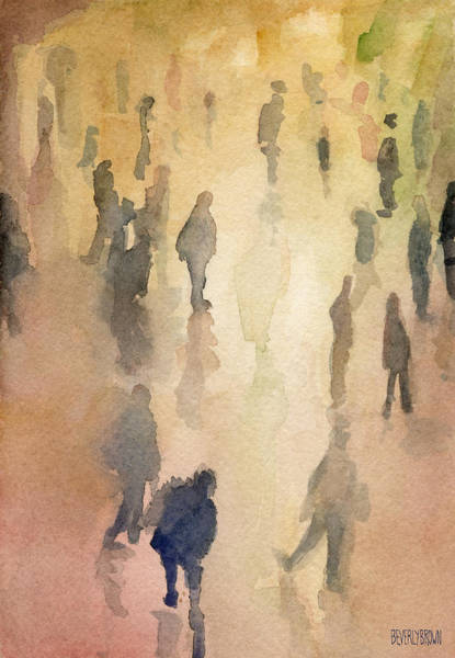 Semi Abstract Painting - Figures Grand Central Station Watercolor Painting Of Nyc by Beverly Brown