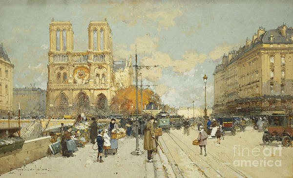 Wall Art - Painting - Figures On A Sunny Parisian Street Notre Dame At Left by Eugene Galien-Laloue