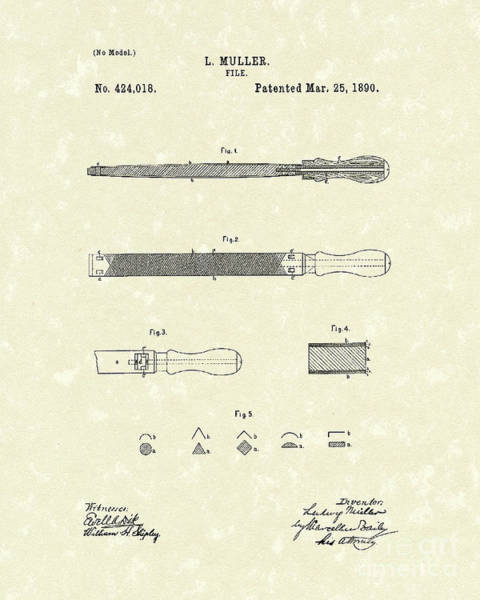 Drawing - File 1890 Patent Art by Prior Art Design