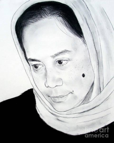 Filipino Drawing - Filipina Beauty With A Facial Mole by Jim Fitzpatrick