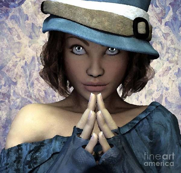 Art Print featuring the painting Fille Au Chapeau by Sandra Bauser Digital Art
