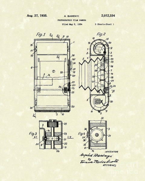 Drawing - Film Camera 1935 Patent Art by Prior Art Design