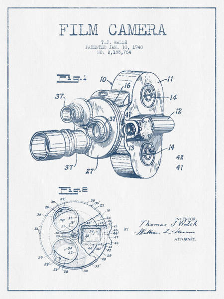 Lens Digital Art - Film Camera Patent Drawing From 1938 - Blue Ink by Aged Pixel