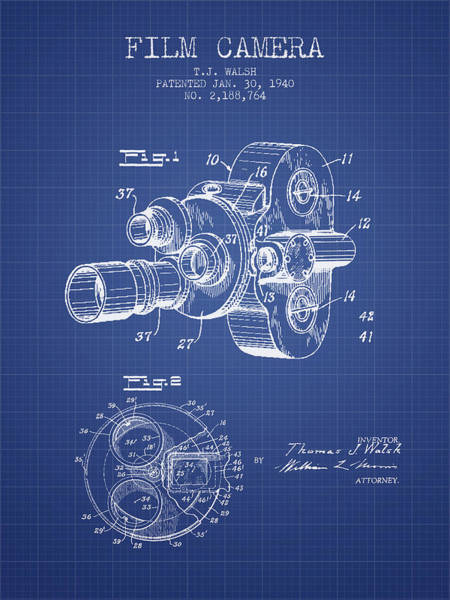 Lens Digital Art - Film Camera Patent From 1940 - Blueprint by Aged Pixel