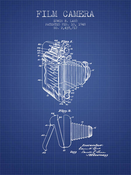 Lens Digital Art - Film Camera Patent From 1948 - Blueprint by Aged Pixel