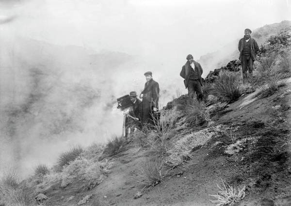 Cinematography Photograph - Filming Mount Etna Eruption by Library Of Congress