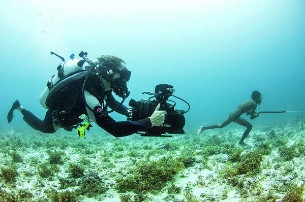 Wetsuit Wall Art - Photograph - Filming Spear Fishing by Scubazoo/science Photo Library