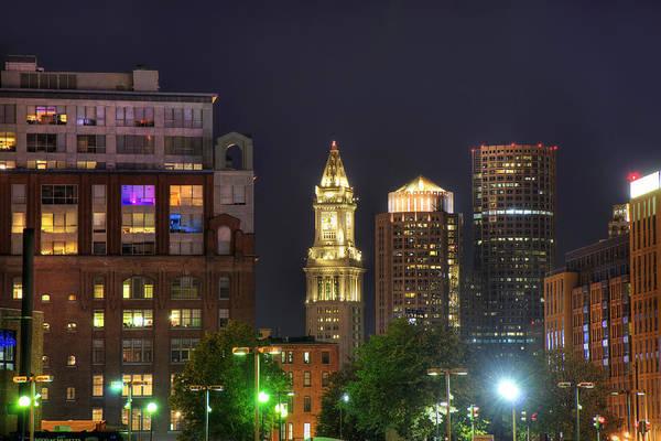 Photograph - Financial District At Night - Boston by Joann Vitali