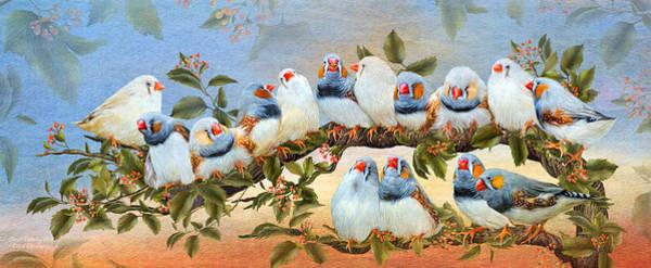 Mixed Media - Finch Family Tree by Carol Cavalaris