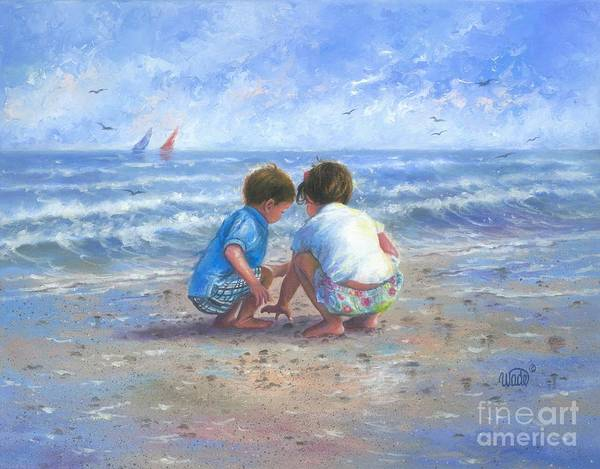 Brother And Sister Wall Art - Painting - Finding Sea Shells Brother And Sister by Vickie Wade